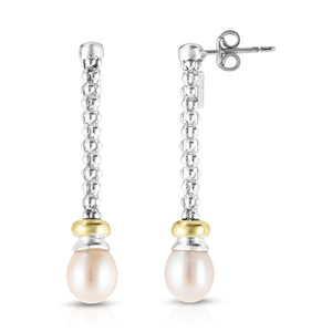 Sterling Silver & 18K Gold Popcorn Pearl Drop Earrings - Phillip Gavriel