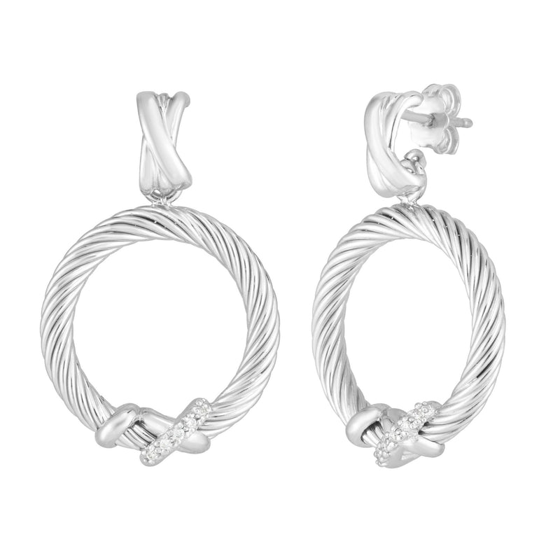 Sterling Silver Italian Cable Diamond Accent Filo Circle Earrings - Phillip Gavriel