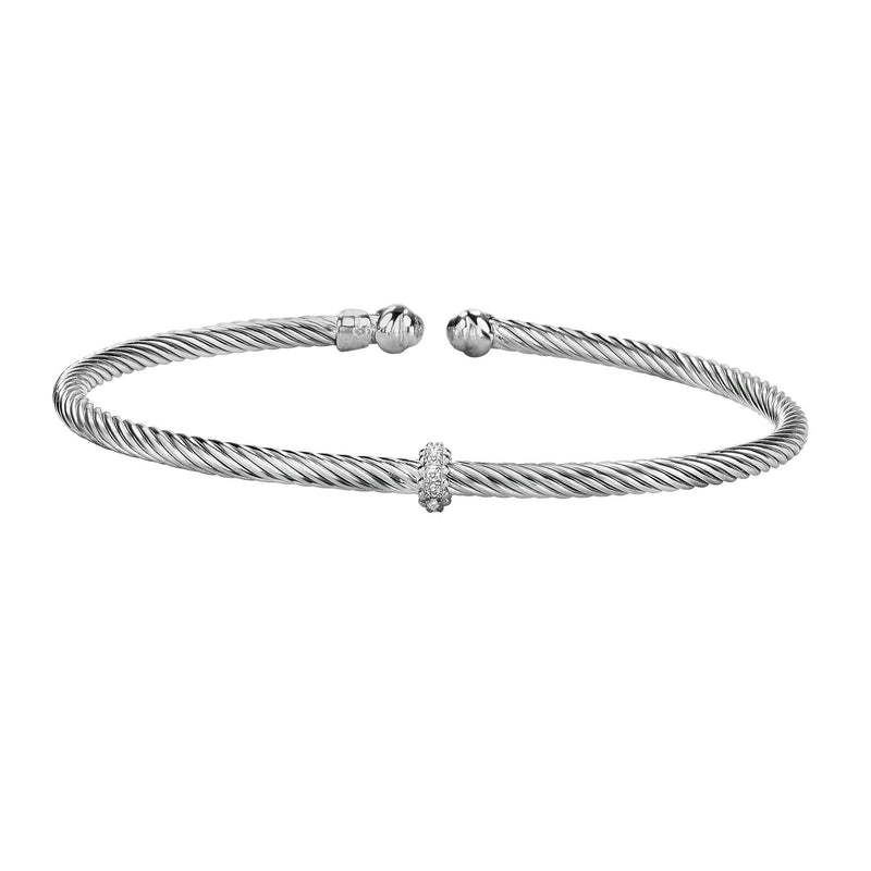 Sterling Silver Italian Cable Stackable Single Station Bangle - Phillip Gavriel