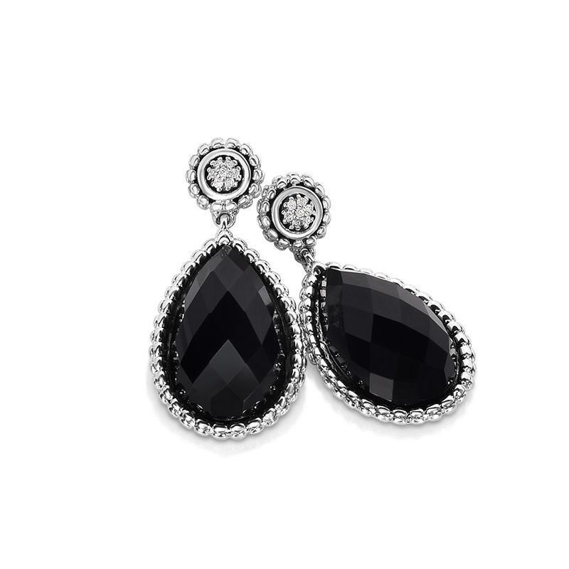 Sterling Silver Pear Shaped Gemstone & Diamond Drop Earrings - Phillip Gavriel