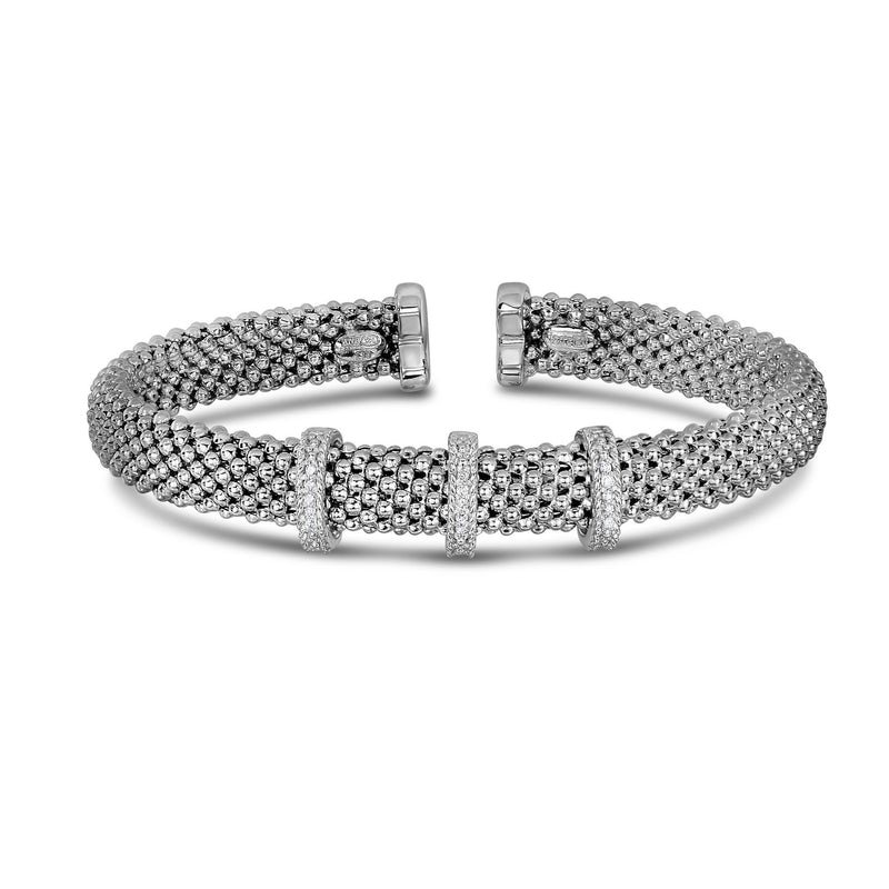 Sterling Silver Popcorn Diamond Bar Bangle - Phillip Gavriel