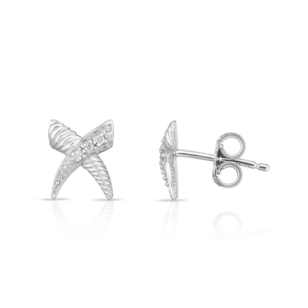Sterling Silver Sculpted 'X' Diamond Cable Studs - Phillip Gavriel