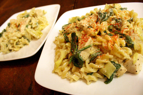 Spinach and Artichoke Fusilli w/ Lemon Pepper Chicken or Shrimp