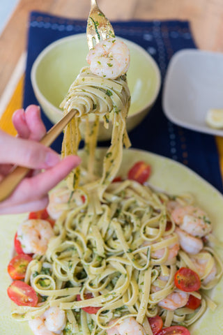 Avocado Pesto Pasta w/ Garlic Shrimp or Chicken & Cherry Tomatoes