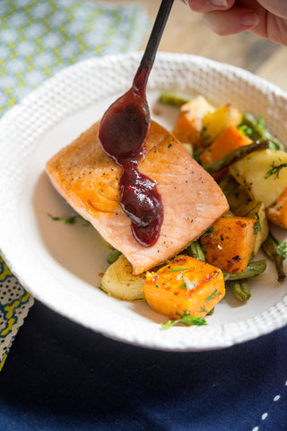 Blueberry BBQ Salmon or Chicken w/ Herb Roasted Green Beans and a Sweet & Yukon Potato Medley