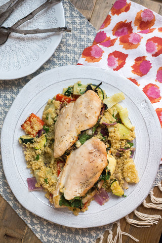 Spinach, Brie and Cranberry Stuffed Dijon Chicken With a Roasted Veggie Quinoa