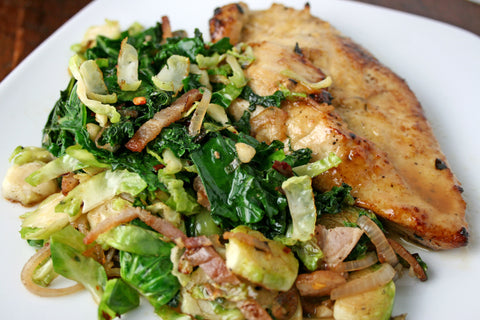 Marinated Chicken or Salmon w/ a Bacon, Brussels & Kale Hash and an Apple Cider Reduction
