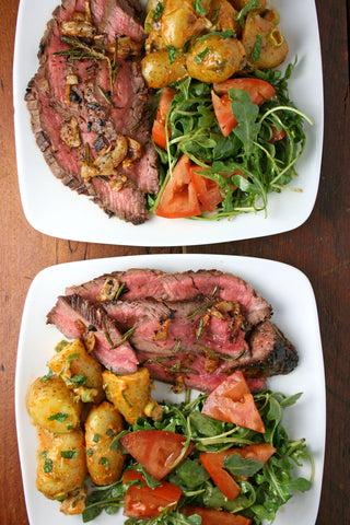 Herb Butter Basted Flank Steak w/ Crispy Garlic, Old Bay Potatoes and a Mesclun Side Salad