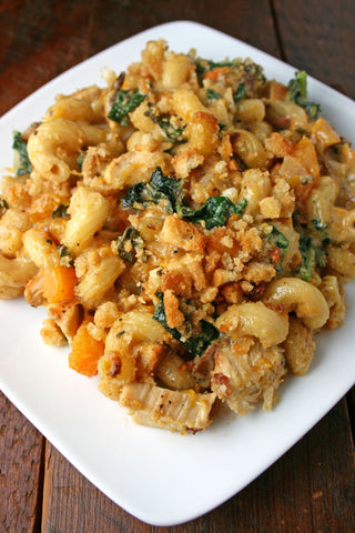 Baked Butternut Squash, Bacon and Kale Mac n Cheese! (w/ Vegetarian Option!)