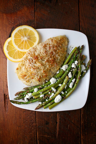 Caesar Crusted Chicken or Salmon with Lemony Goat Cheese Asparagus