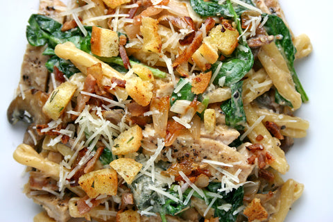 Casarecce w/ Caramelized Shallot, Mushrooms, Spinach, Bacon, Rosemary Brown Butter Croutons in an Asiago Cream Sauce