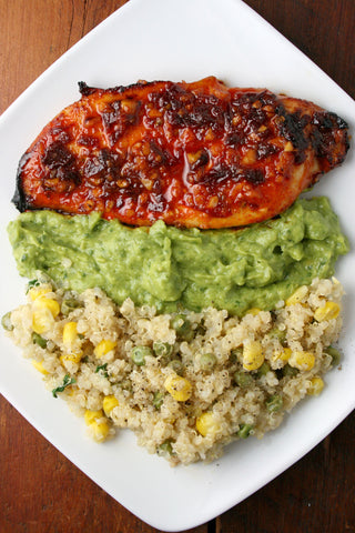 Chipotle Honey Chicken (or Tofu) with an Avocado Basil Puree and Veggie Quinoa