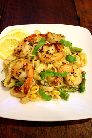 Chipotle Sweet Corn & Asparagus Fettuccine w/ Citrus Chicken, Shrimp or Vegetarian