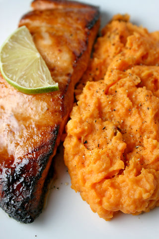 Maple Dijon Glazed Salmon or Chicken w/ scratchDC's Famous Chipotle Mashed Sweet Potatoes