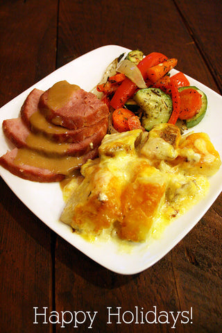 scratchDC Does Christmas! Spiral Sliced Ham w/ Honey Dijon Glaze, Potatoes Au Gratin and Herbed Veggie Medley