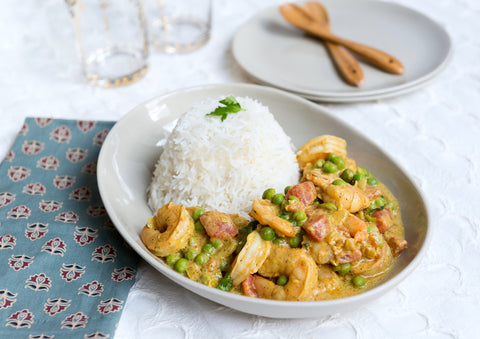 Coconut Shrimp, Chicken or Tofu Curry over Basmati Rice