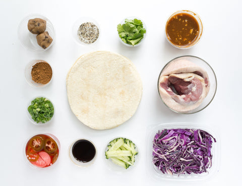 THE Peking Duck (or Chicken) Tacos w/ Pickled Veggies, Warm Slaw, Ginger Lime Hoisin & Fixins!