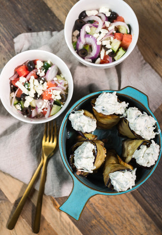 Pan Seared Eggplant and Lamb (or Beef) Roll-Ups w/ Homemade Tzatziki, Feta and Greek Side Salad