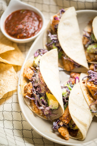 Blackened Fish (or Chicken) Tacos w/ Creamy Avocado Cabbage Slaw, Herb Lime Aioli, Serranos AND scratchDC Salsa & Chips