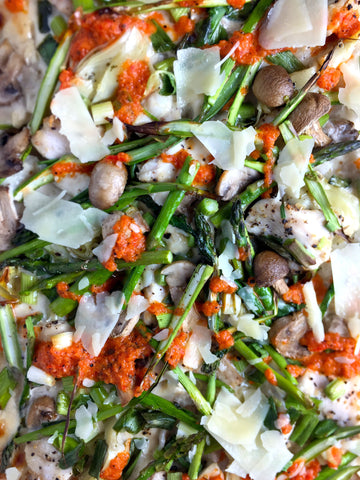 NEW - Summer Green Flatbread w/ a Roasted Garlic Parmesan Sauce, Shaved Asparagus, Artichoke, Scallion, Mushrooms, Red Pepper Coulis and Choice of Protein (Serves FOUR!)