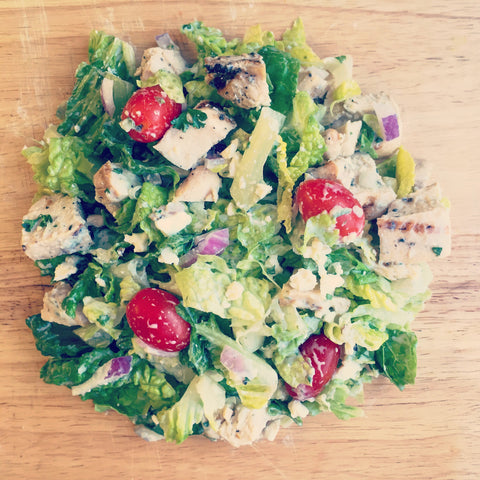 THE Greek Chopped Salad w/ Grilled Chicken and a Tzatziki Dressing