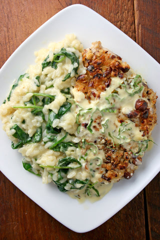 Hazelnut Crusted Tilapia (or Chicken) w/ a Lemon Basil Wine Sauce and Spinach Parmesan Risotto