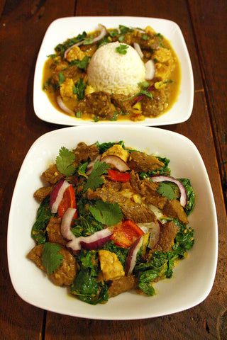 Indonesian Kale & Beef OR Tempeh Curry over Coconut Ginger Rice
