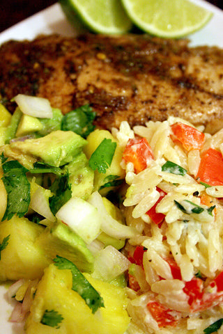 scratchDC Jerk Chicken OR Mahi Mahi w/ Pineapple Avocado Salsa and a Cool Jalapeno, Red Pepper & Lime Orzo