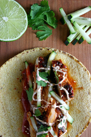 Korean Tacos w/ Choice of Protein, Kimchi, Cucumber, Sriracha Crema and scratchDC Korean BBQ Sauce