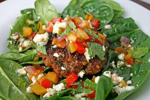 Moroccan Spiced Lamb (or Chicken) Burgers (or Salads) w/ Peach Chutney and a Pistachio Mint Feta
