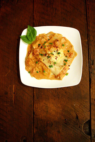 scratchDC Lobster and Shrimp Ravioli in a Pink Sauce