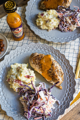 Grilled Chicken w/ Nando's PERi-PERi Sauce w/ Garlic Mashed Potatoes, Coleslaw, PERi-PERi Nuts and Your Choice of Sauce!