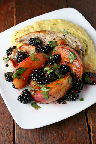 Blackberry Nectarine Chicken (or Tofu) w/ Herby Goat Cheese Polenta