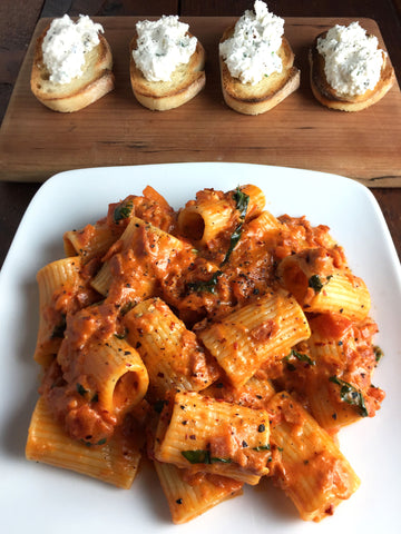 Rigatoni in Pepperoni Sauce w/ Homemade Honey Herb Ricotta and Crostini