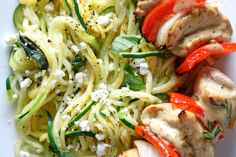 "Rosemary Ranch Chicken (or Shrimp) Kabobs w/ Feta, Basil, Zucchini & Summer Squash ""Spaghetti"""
