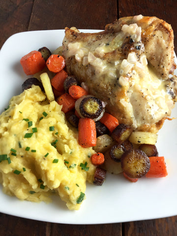 Crispy Herb Roasted Chicken or Salmon w/ Cheddar Chive Mashed Potatoes, Rainbow Carrot Medley and a Lemon Beurre Blanc