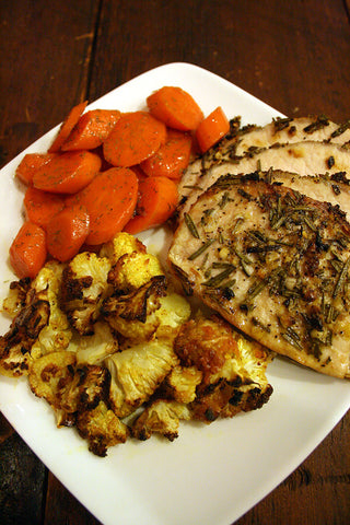 Roasted Rosemary Garlic Pork Loin w/ Curried Cauliflower and Cooked Carrots