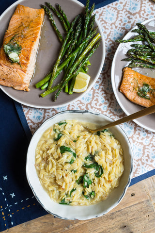 Salmon (or Chicken) with Lemon Dill Butter over a Spinach Parmesan Orzo and Asparagus