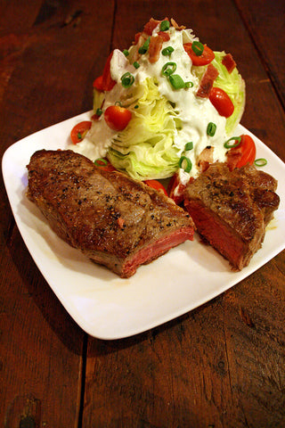 New York Strip Steak w/ Balsamic Butter & a Wedge Salad w/ scratchDC's Famous Blue Cheese Dressing
