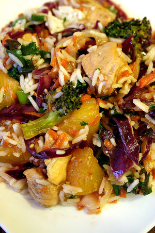 Chicken or Shrimp Teriyaki w/ Broccoli, Pineapple and Warm Asian Slaw over Cilantro Lime Rice