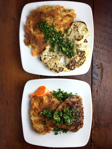 Crispy Juicy Chicken Thighs or Cauliflower Steak w/ Leek & Carrot Gratin and Herby Gremolata