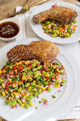 Wasabi Crusted Pork Chop or Chicken with an Edamame Salad and Miso Ginger Glaze