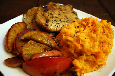 Apple Cider Brined Pork OR Chicken w/ Chipotle Lime Mashed Sweet Potatoes and Caramelized Cinnamon Apples