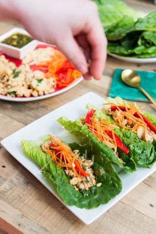 scratchDC Lettuce Wraps with Secret Garlic Chili Sauce, Veggies and Choice of Chicken, Shrimp or Tofu