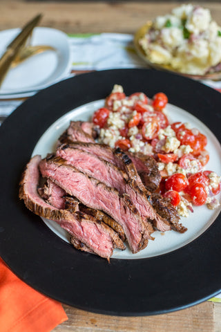 Rosemary Balsamic Flank Steak with a Tomato & Blue Cheese Salad and Creamy Redskin Mashed Potatoes