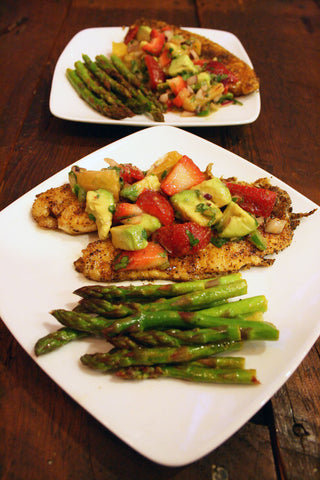 Blackened Cajun Mahi Mahi or Chicken w/ Strawberry Avocado Salsa & Sautéed Asparagus