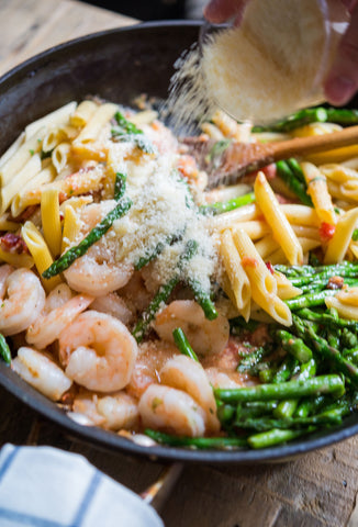 scratchDC's Penne Carbonara w/ Choice of Protein, Bacon, Asparagus & San Marzano Tomato