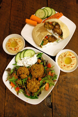 scratchDC Falafel Wrap w/ Homemade Hummus, Tzatziki and Dippable Veggies and Option to add Mediterranean Chicken!
