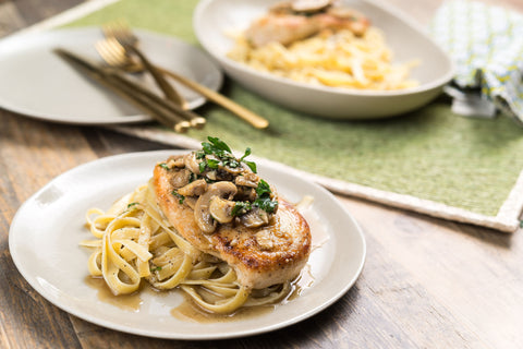 Garlic White Wine Chicken and Button Mushrooms w/ a Light White Truffle Parmesan Fettuccine