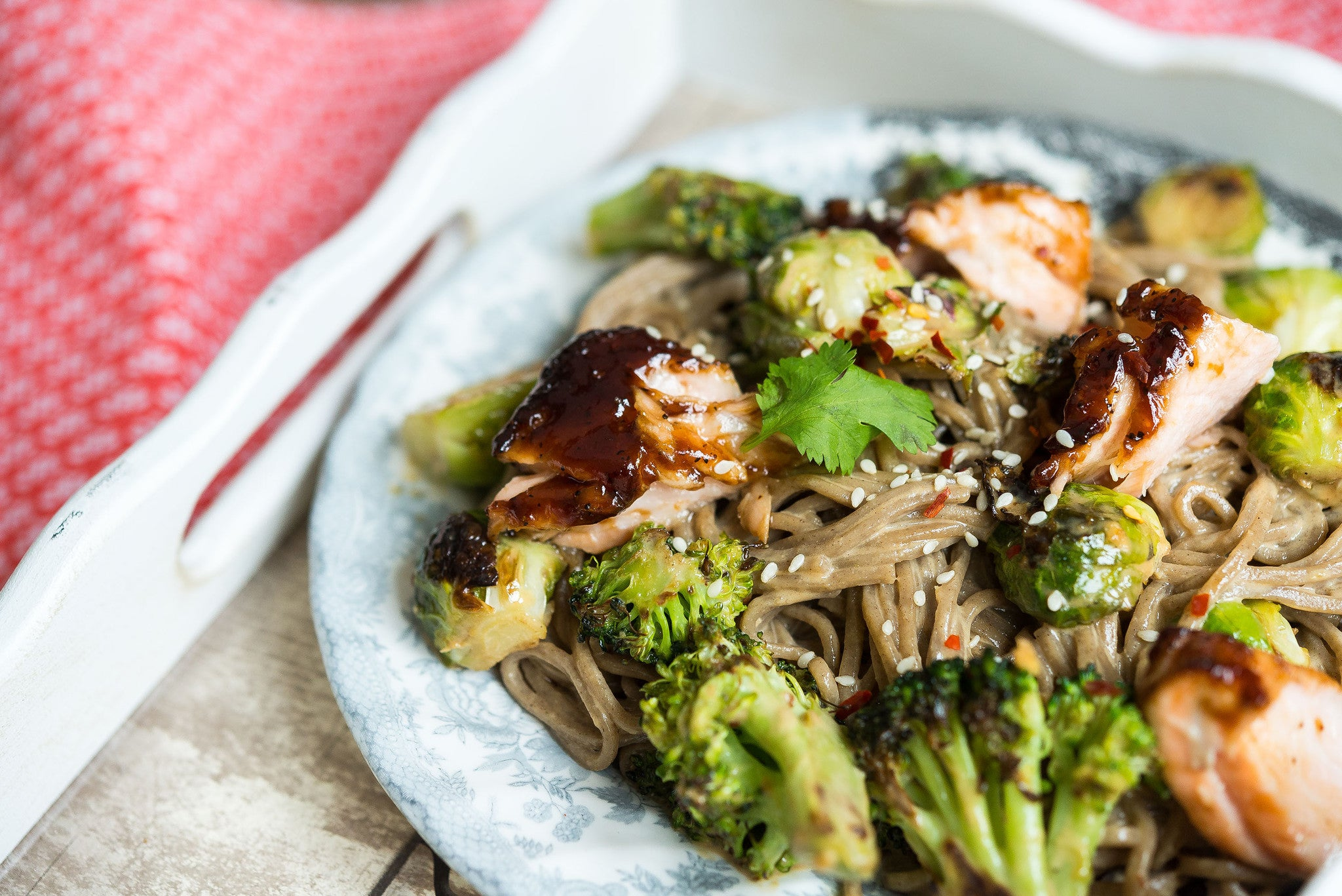 Hoisin Glazed Salmon, Tofu or Chicken & Veggies over Soba Noodles ...